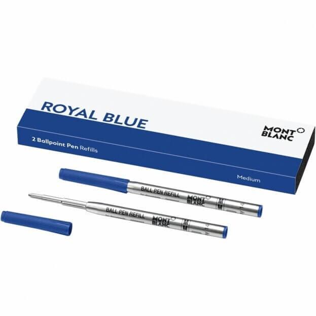 MontBlanc Ανταλλακτικά Μελάνια Μπλε Ballpoint Pen Refills Medium Royal Blue (2 τμχ)
