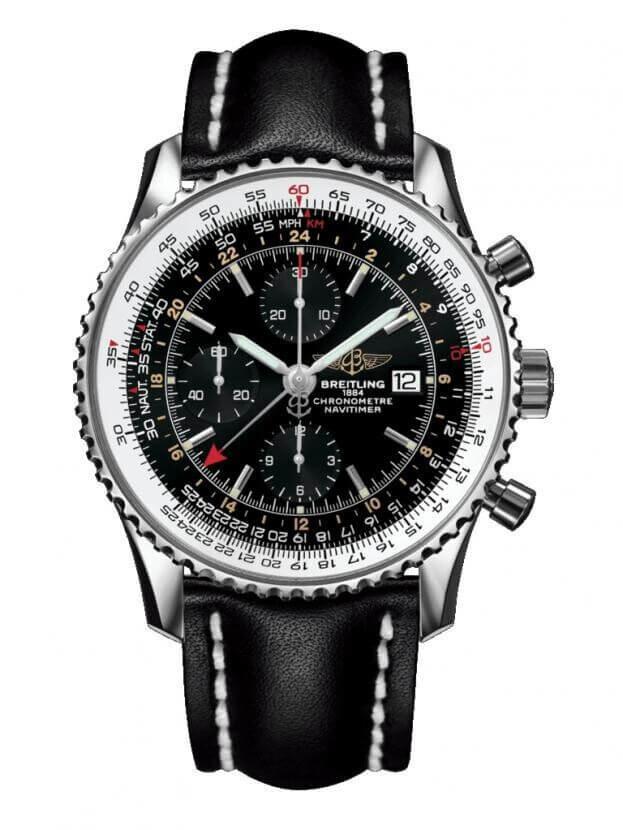 BREITLING Navitimer World Chronograph GMT 46mm Μαύρο Καντράν Ανδρικό Ρολόι