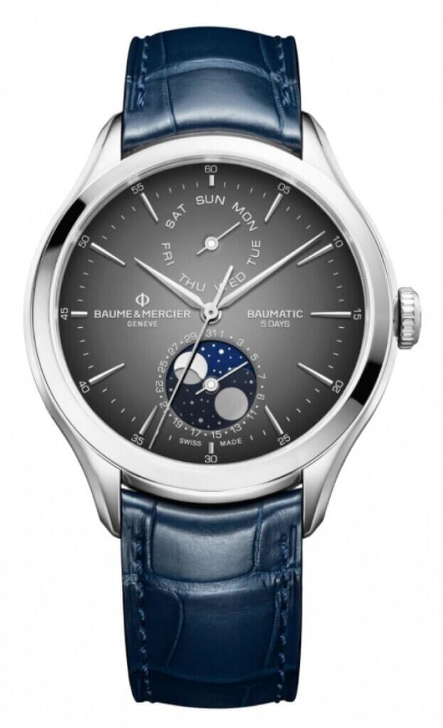 BAUME et MERCIER Clifton Baumatic Moonphase 42mm Grey Dial Mens Watch