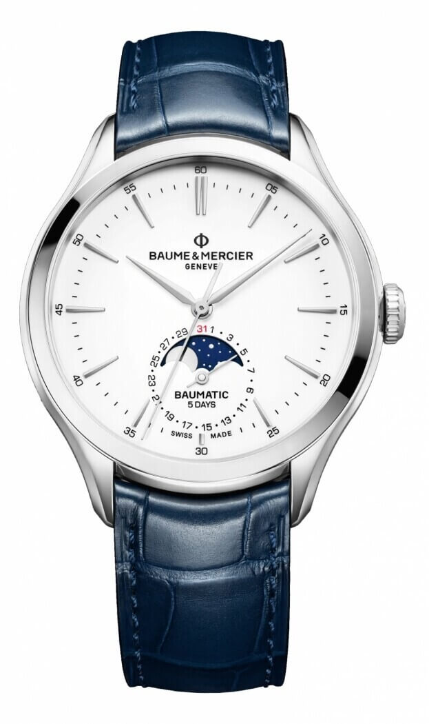 BAUME et MERCIER Clifton Baumatic Moonphase 42mm White Dial Mens Watch