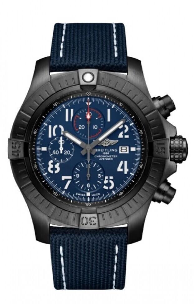 BREITLING Avenger Chronograph Night Mission 48mm Μπλε Καντράν Ανδρικό Ρολόι