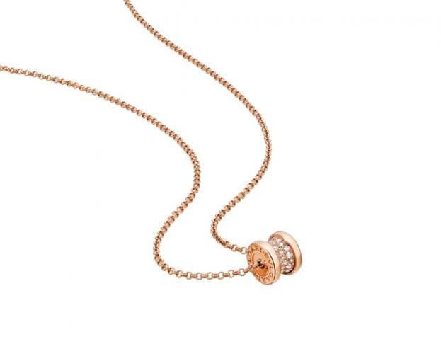 BVLGARI Κολιέ B.ZERO1 Collection Ροζ Χρυσός K18 με Μπριγιάν