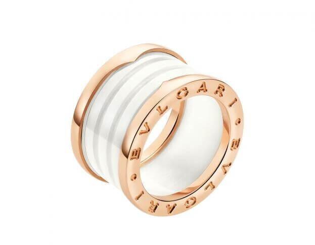 BVLGARI Δαχτυλίδι B.ZERO1 Collection Ροζ Χρυσό Κ18 με Λευκό Κεραμικό