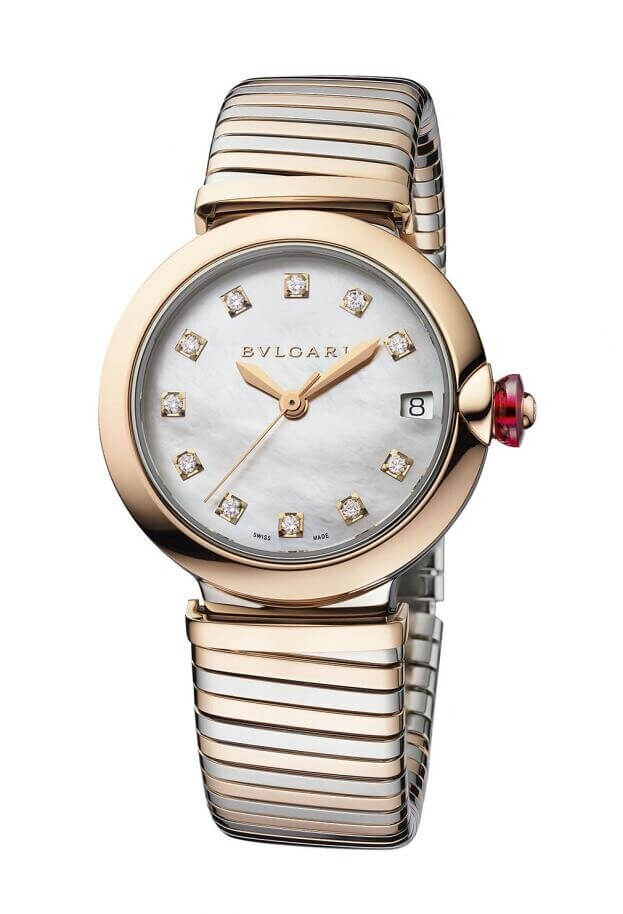 BVLGARI Lvcea Tubogas Automatic 33mm Λευκό Μother-of-pearl Καντράν Γυναικείο Ρολόι