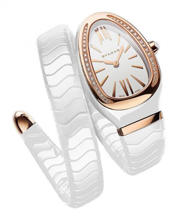BVLGARI Serpenti Spiga Ceramic Rose Gold & Diamonds 35mm Λευκό Καντράν Γυναικείο Ρολόι