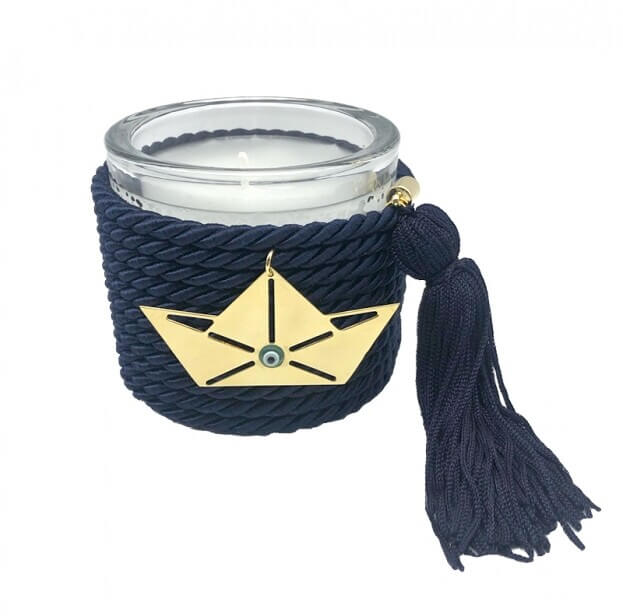 Διακοσμητικό Χειροποίητο Αρωματικό Κερί με Μεταλλικό Μοτίφ και Μπλε Κορδόνι με φούντα