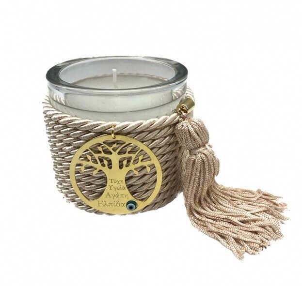 Διακοσμητικό Χειροποίητο Αρωματικό Κερί με Μεταλλικό Μοτίφ και Σαμπανί Κορδόνι με φούντα