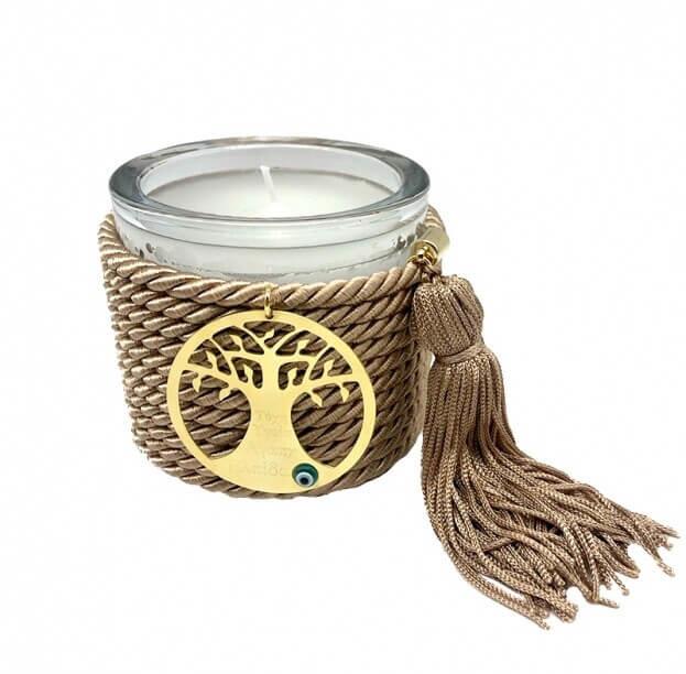 Διακοσμητικό Χειροποίητο Αρωματικό Κερί με Μεταλλικό Μοτίφ και Nude Κορδόνι με φούντα