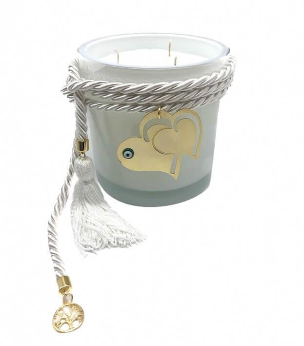 Διακοσμητικό Χειροποίητο Αρωματικό Κερί με Μεταλλικό Μοτίφ και Λευκό Κορδόνι με φούντα