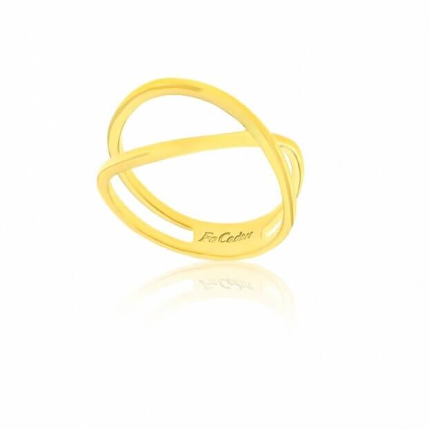 FACADORO Δαχτυλίδι Κίτρινος Χρυσός Κ14