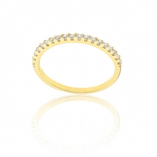 FACADORO Δαχτυλίδι Κίτρινος Χρυσός Κ14 με ζιργκόν