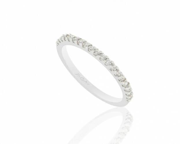 FACADORO Δαχτυλίδι Λευκός Χρυσός Κ14 με ζιργκόν