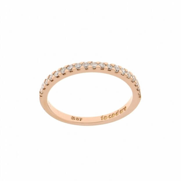 FACADORO Δαχτυλίδι Ροζ Χρυσός Κ14 με ζιργκόν