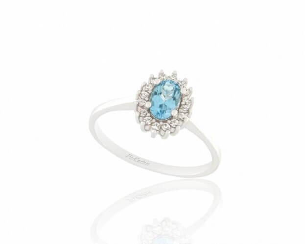 FACADORO Δαχτυλίδι Ροζέτα Λευκός Χρυσός Κ14 με ζιργκόν