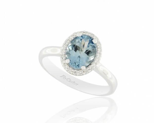 FACADORO Δαχτυλίδι Ροζέτα Λευκός Χρυσός Κ18 με Μπριγιάν & Aquamarine
