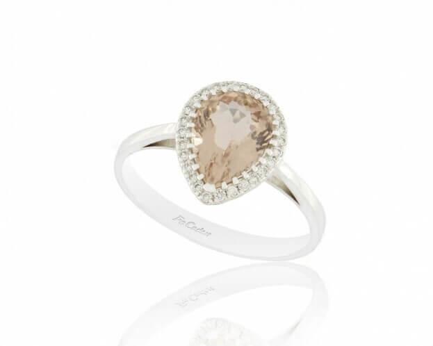 FACADORO Δαχτυλίδι Ροζέτα Λευκός Χρυσός Κ18 με Μπριγιάν & Morganite