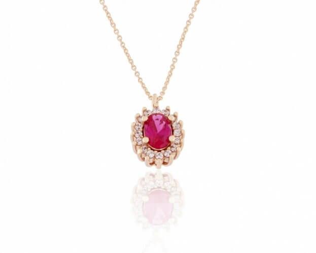 FACADORO Κολιέ Ροζέτα Ροζ Χρυσός Κ14 με ζιργκόν