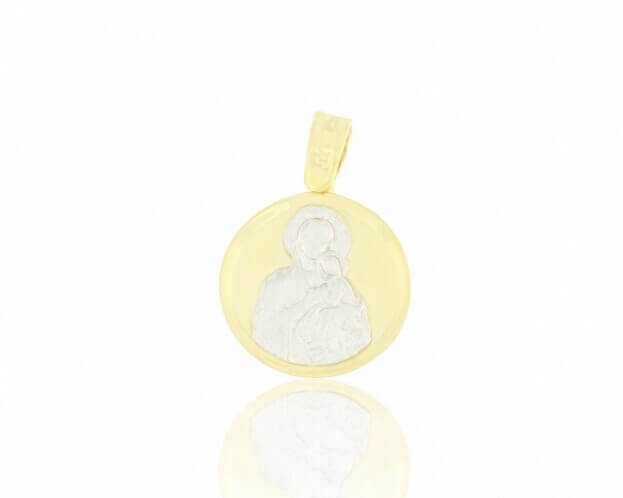 FACADORO Μενταγιόν Κίτρινος & Λευκός Χρυσός Κ14