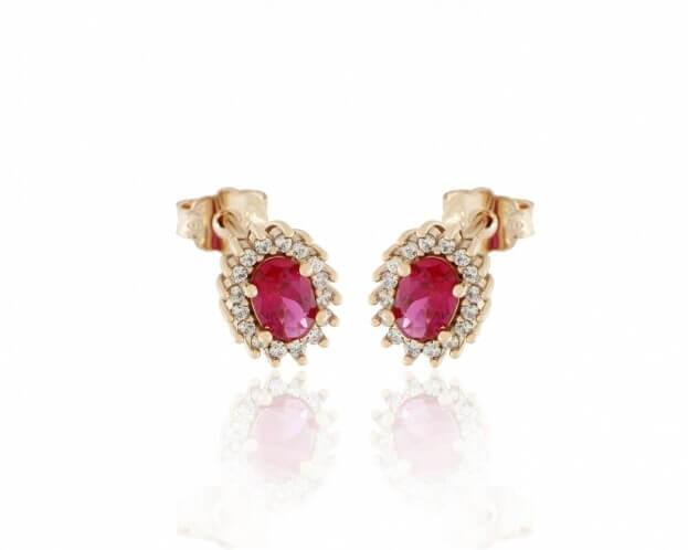 FACADORO Σκουλαρίκια Ροζ Χρυσός K14 με ζιργκόν