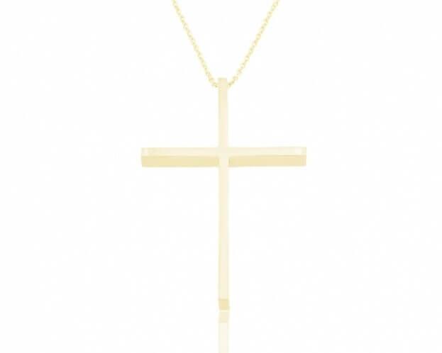 FACADORO Σταυρός Βαπτιστικός Κίτρινος Χρυσός Κ18
