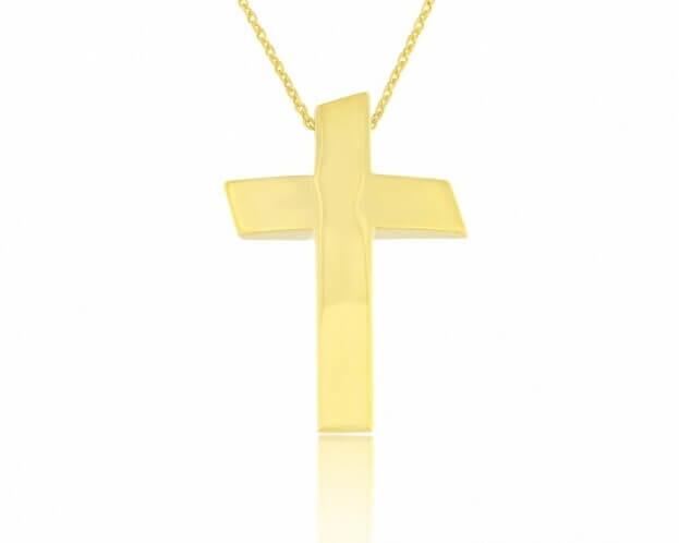 FACADORO Σταυρός Βαπτιστικός Κίτρινος Χρυσός Κ14
