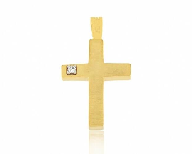 FACADORO Σταυρός Βαπτιστικός Κίτρινος Χρυσός Κ14 με ζιργκόν
