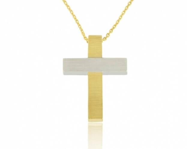 FACADORO Σταυρός Βαπτιστικός Λευκός & Κίτρινος Χρυσός Κ14