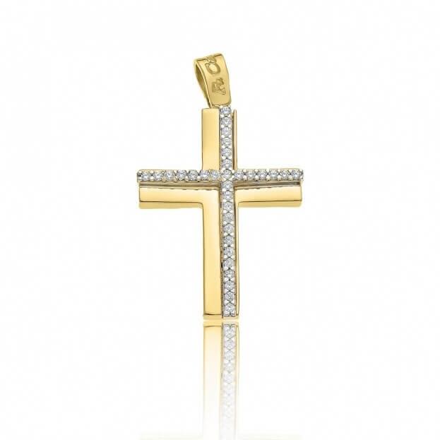 FACADORO Σταυρός Βαπτιστικός Λευκός & Κίτρινος Χρυσός Κ14 με ζιργκόν