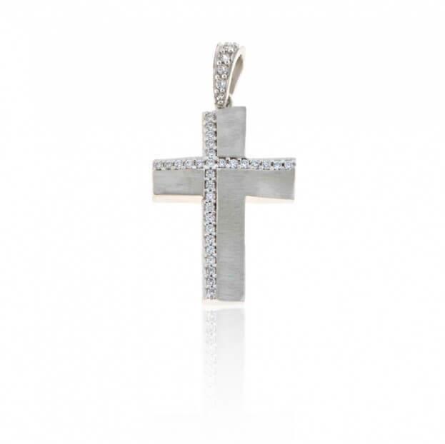 FACADORO Σταυρός Βαπτιστικός Λευκός Χρυσός Κ14 με ζιργκόν