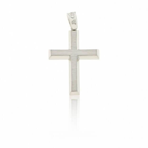 FACADORO Σταυρός Βαπτιστικός Λευκός Χρυσός Κ14