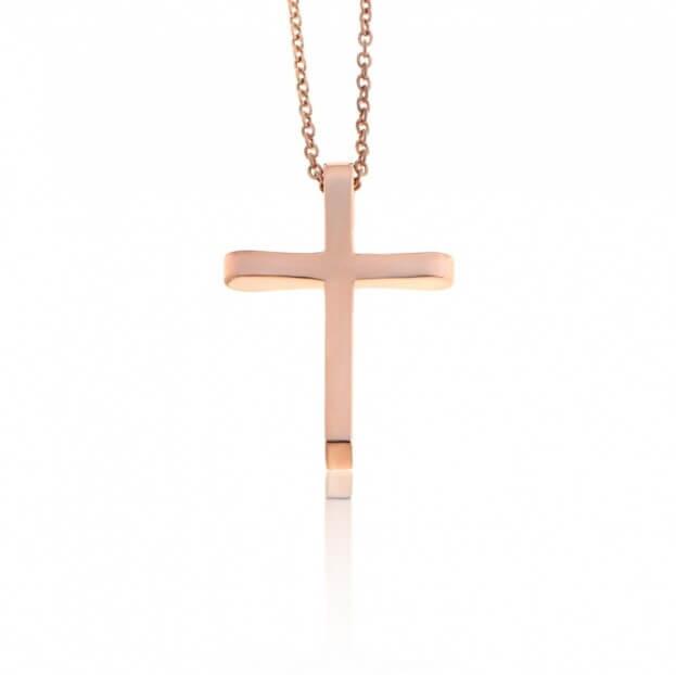 FACADORO Σταυρός Βαπτιστικός Ροζ Χρυσός Κ14