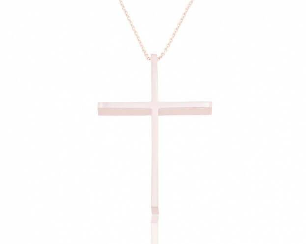FACADORO Σταυρός Βαπτιστικός Ροζ Χρυσός Κ18