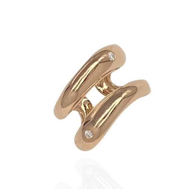 GAVELLO Δαχτυλίδι DOUBLE Corpo Collection Ροζ Χρυσό Κ18 με Μπριγιάν