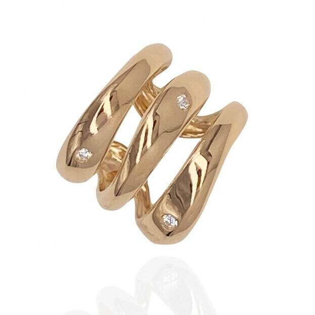 GAVELLO Δαχτυλίδι TRIPLE Corpo Collection Ροζ Χρυσό Κ18 με Μπριγιάν