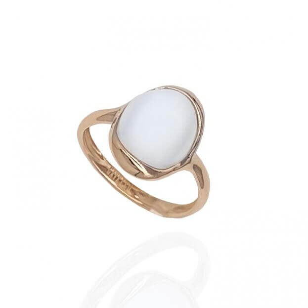 GAVELLO Δαχτυλίδι  Jasmine Collection Ροζ Χρυσό Κ18 με Λευκή Moonstone