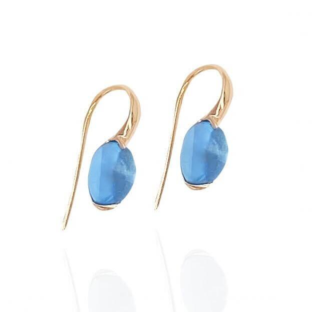 GAVELLO Σκουλαρίκια Confetti Collection Ροζ Χρυσό Κ18 με Μπλε Τοπάζι