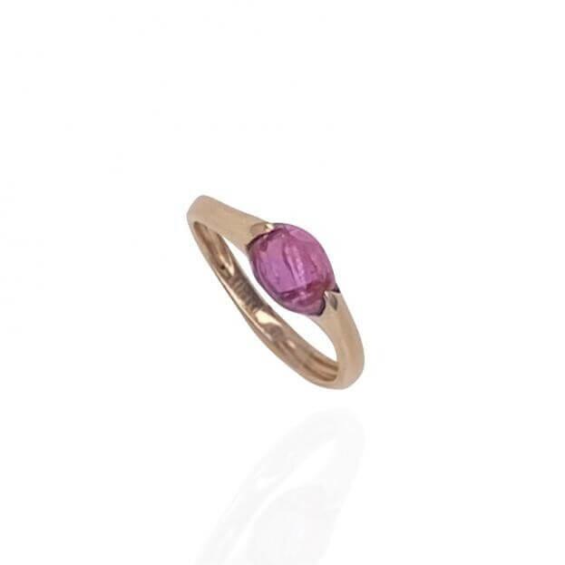 GAVELLO Δαχτυλίδι  Confetti Collection Ροζ Χρυσό Κ18 με Ροζ Τουρμαλίνη