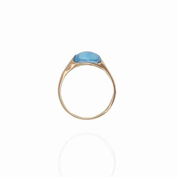 GAVELLO Δαχτυλίδι  Confetti Collection Ροζ Χρυσό Κ18 με Μπλε Τοπάζι