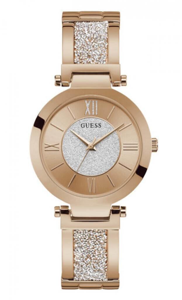 GUESS AURORA Quartz 36mm Ροζ Χρυσό Καντράν Γυναικείο Ρολόι