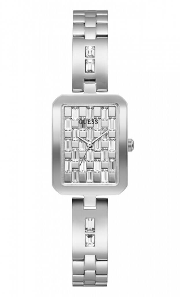 GUESS BAUBLE Quartz 22x30mm Ασημί Καντράν Γυναικείο Ρολόι
