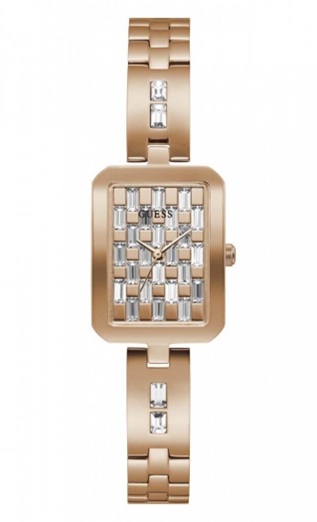 GUESS BAUBLE Quartz 22x30mm Ροζ Χρυσό Καντράν Γυναικείο Ρολόι