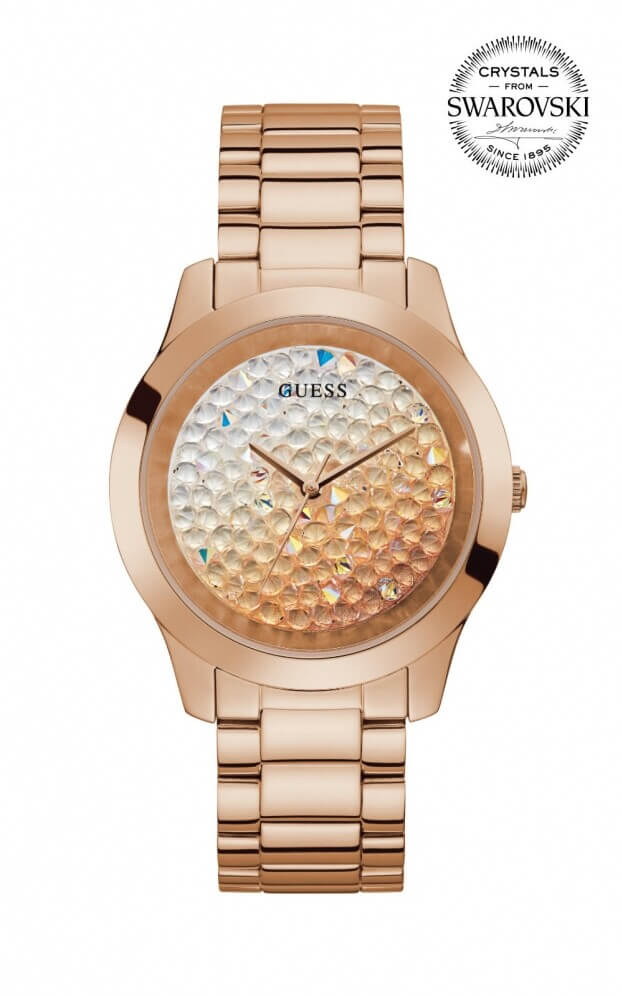 GUESS CRUSH Quartz 42mm Ροζ Χρυσό/Λευκό Καντράν Γυναικείο Ρολόι
