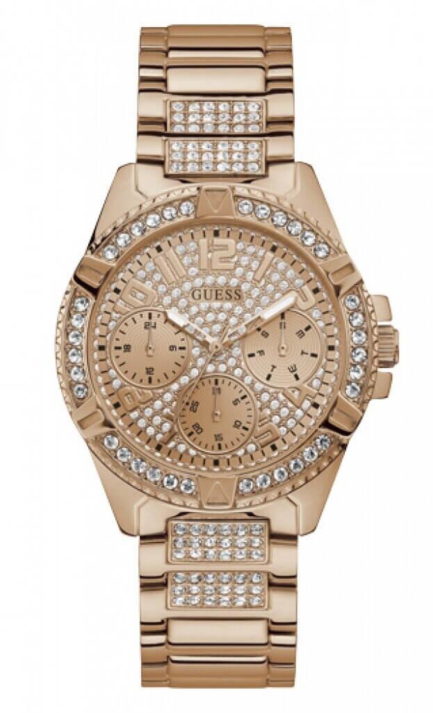 GUESS LADY FRONTIER Quartz Multi-Function 40mm Ροζ Χρυσό Καντράν Γυναικείο Ρολόι