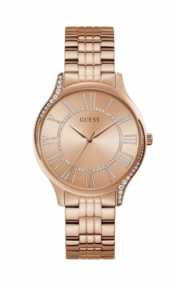 GUESS ROYAL Quartz 40mm Ροζ Χρυσό Καντράν Γυναικείο Ρολόι