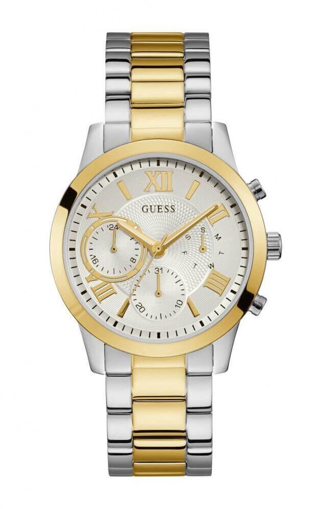 GUESS SOLAR Quartz Multi-Function 40mm Ασημί Καντράν Γυναικείο Ρολόι