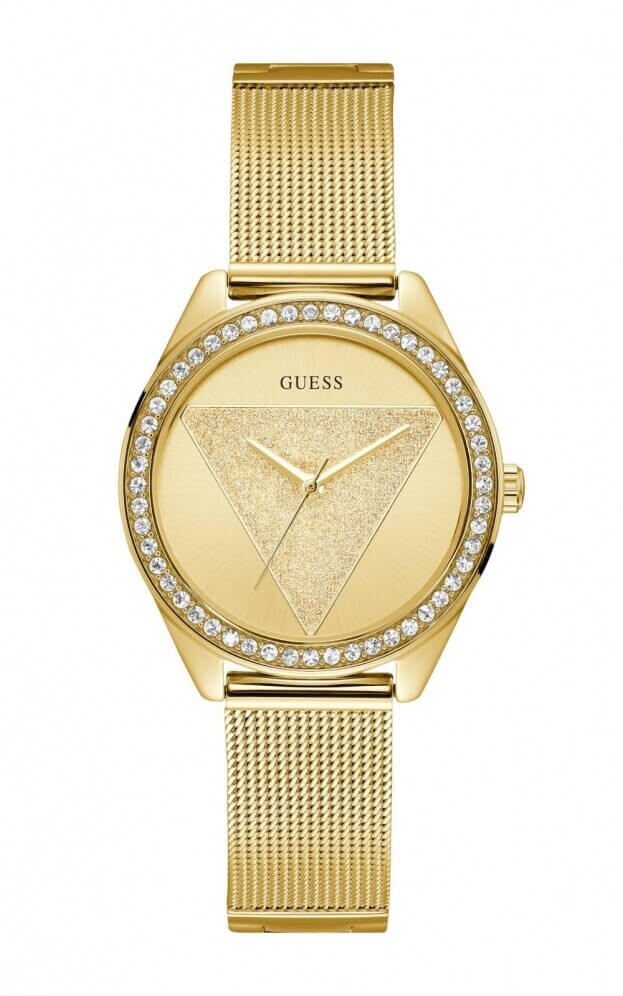 GUESS TRI GLITZ Quartz 36mm Κίτρινο Χρυσό Καντράν Γυναικείο Ρολόι