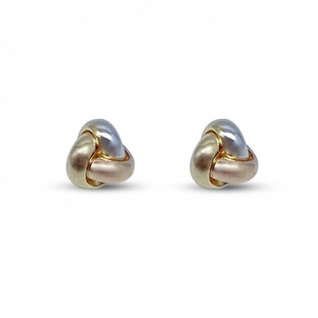 Inglessis Collection Σκουλαρίκια Κίτρινο/Ροζ/Λευκό Χρυσό Κ14 (ζεύγος)