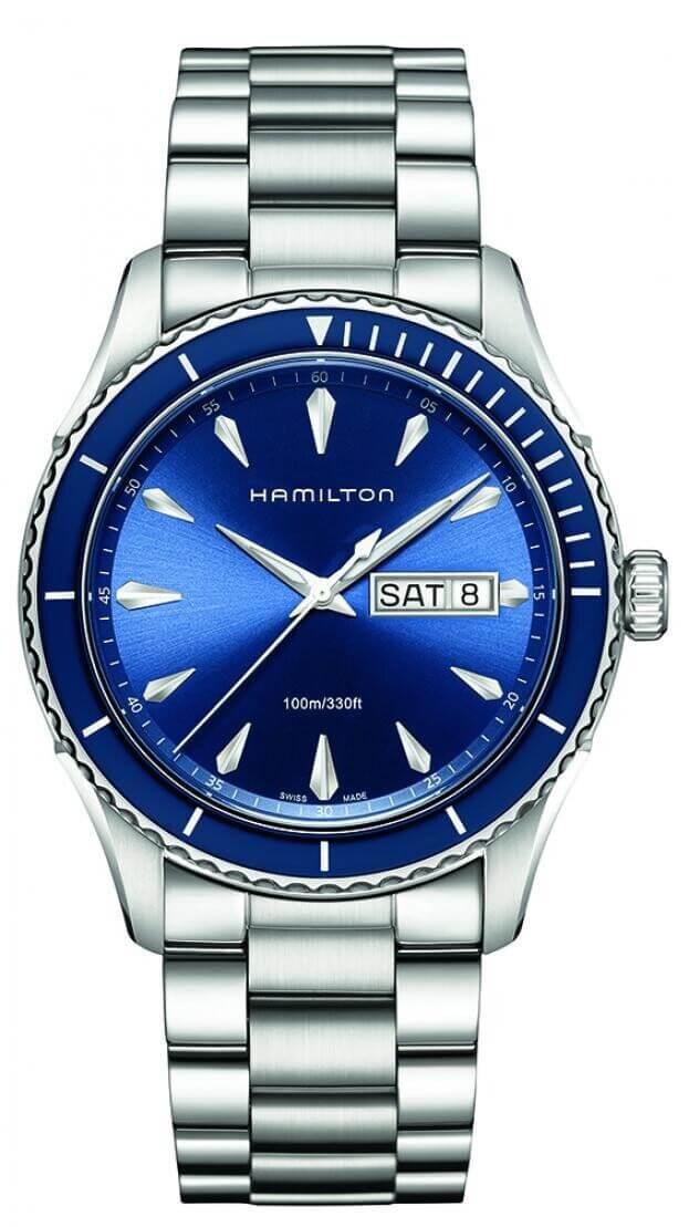 HAMILTON Jazzmaster Seaview Day-Date Quartz 42mm Μπλε Καντραν Ανδρικό Ρολόι