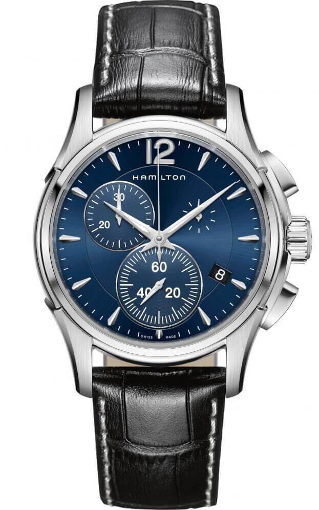 HAMILTON  Jazzmaster Chrono Quartz 42mm Μπλε Καντράν Ανδρικό Ρολόι
