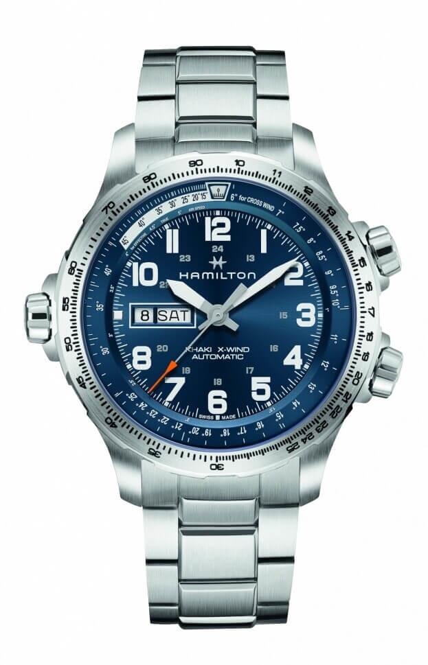 HAMILTON Khaki Aviation X-Wind Day Date Auto 45mm Μπλε Καντράν Ανδρικό Ρολόι